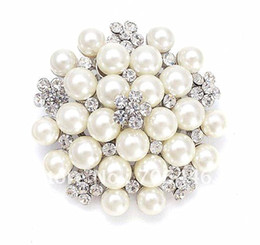 Wholesale Wholesale Imitation Bouquet Jewelry - Vintage Silver Tone Rhinestone Crystal Diamante and Faux Cream Pearl Cluster Large Bridal Bouquet Pin Brooch Wedding Invitation Pins Jewelry