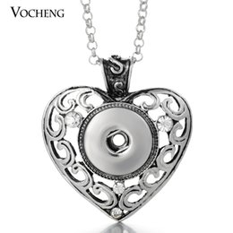 Wholesale Heart Rhinestones Charms - VOCHENG NOOSA 18mm Heart Pendants Necklace Interchangeable Jewelry Snap Charms Pendant Jewelry with Stainless Steel Chain NN-060