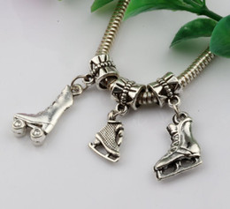 Wholesale Roller Skate Charms - Hot ! 150PCS Fashion Antique Silver Zinc Alloy Mixed 3D Roller skates Charms Dangle Beads Fit Charm Bracelets DIY Jewelry