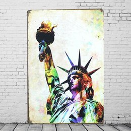 Wholesale Statue Home Decor - Statue of Liberty Tin Sign Retro Colorful Metal Painting Plaque Iron Tin Plate Room Bar Tavern Cafe Garage Home Wall Decor
