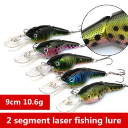 Wholesale Game Trolling Lures - 2 segments bleeding Bionic fishing lure 9cm 10.6g Trolling dive baitfish crank wobbler bait 20pcs lot