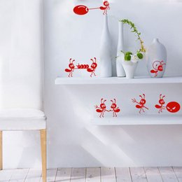 Wholesale Wall Paper Stickers Children Animals - Essential Fashion Cartoon Home Decoration Cute Small Ants Stickers Children Room Wall Stickers 625