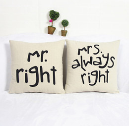 Wholesale Mrs Right - 1 Set 2pcs Simple Signature Couple Fun Mr Right Mrs Always Right Linen Pillow Case Cushion Cover
