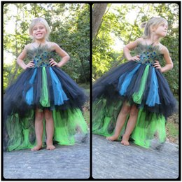Wholesale Performance Images - Fashional Girls Performance Peacock Fur Baby Girl Dresses High Low Train Flower Girl Dresses For Weddings 2016 Girl Pageant Dresses