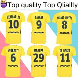 Cheap customized team uniforms - #10 NEYMAR JR away Soccer Jersey 17 18 #29 MBAPPE yellow Soccer Shirt Customized #9 CAVANI club team Football uniform 2018 size S-4XL
