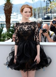 Wholesale Emma Stone - 2016 Emma Stone Evening Gowns Sleeves Black Lace Sheer Bateau Neck Ruffles Organza Short Knee Length Prom Dressess Gowns for Women