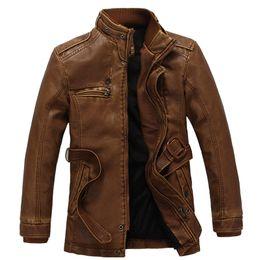 Wholesale Luxury Fleece Jackets - Fall-2015 New Fashion Motorcycle Leather Jacket Men Winter Thick Fleece Warm Vintage PU Leather Jackets Luxury Fur Long Jacket Coat