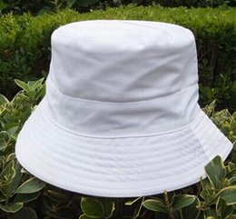 Wholesale Wide Brim Blanks - Wholesale-Factory Promotional Price new design stylish cotton sunscreen travel blank cool plain white cotton bucket hat free shipping