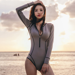 Wholesale Young Girls Swimwear - 2018 new women sexy Rash Guards Long Sleeves ladies one pieces lovely swimwear swimsuits bathing suit beach wear for young girl