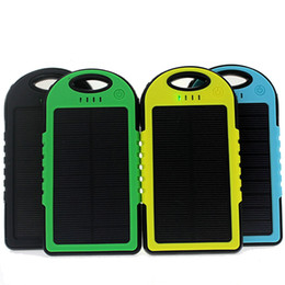 Wholesale Dual Port Universal Power Bank - solar power bank portable waterproof Panel Shockproof mobile solar phone charger with dual usb ports Flashlight for CellPhone Laptop OTH013