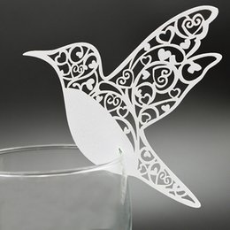 Wholesale Cute Card Designs - 200pcs lot Wine Glass Card Cute Birds Design Paper Escort Laser Cut Place Card Table Name Holder Wedding Party Favors wd104