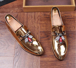 Wholesale Male Prom - 2018 Men Brand Designer Shine pointed Metal buckle Formal Shoes Male Homecoming Dress Wedding Prom Sapato Social Masculino AXX613