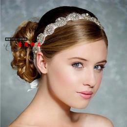 diadema roja brillante Rebajas El pelo nupcial de la boda Crystal Headbands corona nupcial Tiara Hair Band joyería nupcial de la boda NEW05