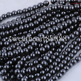 Wholesale Alloy Findings - MIC New 8mm 200pc Black Natural Jet Hematite Gemstone Round Ball Loose Finding Beads Jewelry DIY