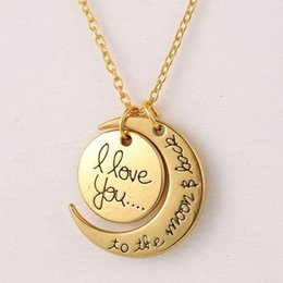 Wholesale Gold Mom Necklace - Fashion Letter Necklace Moon Necklace I Love You To The Moon And Back For Mom Sister Family Pendant Link Chain