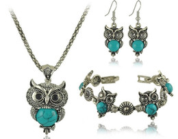 Wholesale Peacock Design Jewelry - New Brand Design Owl Jewelry Sets Tibetan Vintage Silver Turquoise Stone Pendant Necklace drop earrings Charm bracelet Set DS
