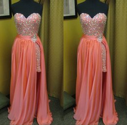 Wholesale Cheap Prom Desses - New Designer Crystal Prom Dresses With Beaded Skirts Slit High Low Prom Gowns Sweetheart Strapless Evening Bridesmaid Desses Cheap