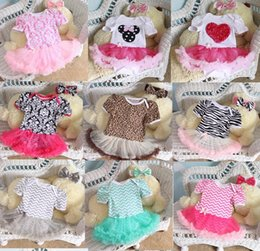 Wholesale Wholesale Chevron Headbands - 2015 Newborn Chevron Tutu Romper Dress & headbands headwrap Toddler Zig zag Ruffles Tutu Rompers Plain tutu Jumpsuits baby Romper Dress