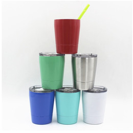 Wholesale Wine Glass Wall Art - 260ml Wine Glass 6 Colors Vacuum Insulated Double Wall Stainless Steel insulation cup with lid kids mug cup
