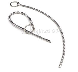 Wholesale male urethral stretching ring - 2015 Latest Design Super Long Urethral Sound Penis Plug Stretching Male Chastity Device With Cock Ring Can Be Free To Bend