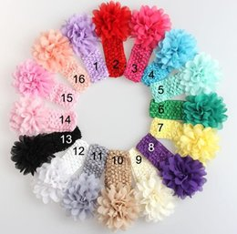 Wholesale Crochet Baby Head Band - New style baby Girl boy Headwear Head Flower Hair Accessories 4 inch Chiffon flower with soft Elastic crochet headbands stretchy hair band