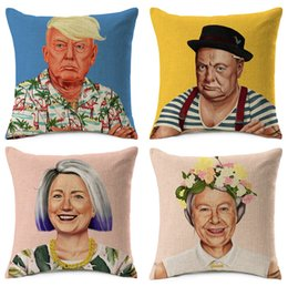 Wholesale Printed Cushions Linen Cotton - Donald Trump Winston Churchill Cushion Covers Hipster Art Hillary Queen Elizabeth Vladimir Putin Cushion Cover Sofa Linen Cotton Pillow Case