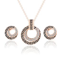 Wholesale Dubai Jewelry Sets - Bridesmaid Jewelry Set Wedding Pendant Necklace Bracelet Earrings Party Jewelry Sets Like Dubai 18k Gold Jewelry Indian African Jewelry Sets