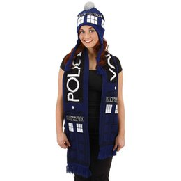 Wholesale Police Costume Cosplay - Doctor Who Scarf Police Box Blue TARDIS Deluxe Double-Layer Soft Warm Knitted Cosplay Dr Who scarf by Elope Official with tag