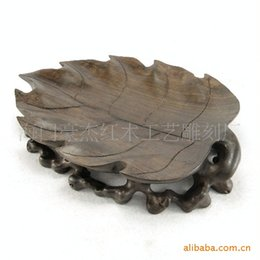 Wholesale African Bowl - Black sticks of wood fruit bowl African ebony wood carving leaves fruit compote fruit bowl can be customized!