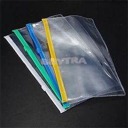 Wholesale File Folder Zipper - 1Pcs New A6 Transparent Plastic Colorful Zipper Paper File Folder Book Pencil Pen Case Bag File Document Bags Wholesale
