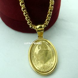 Wholesale american gps - Ladies 18K 18CT Yellow Gold GP The Virgin Mary Chain Pendant necklace N279