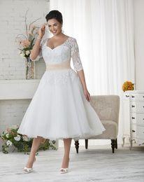 Wholesale Ivory Vintage Short Wedding Dress - 2015 Short Plus Size Wedding Dresses Custom Made V-Neck Matched Sash Applique A-Line Tea Length Half Sleeve Lace Vintage Bridal Gowns W1701
