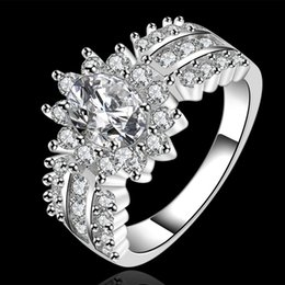 Wholesale Swarovski Ring White - Swarovski elements gorgeous design 925 Sterling Silver fashion chain ladies nice Party engagement Zricon Ring jewelry factory price R584