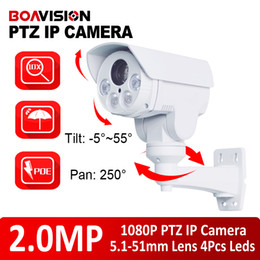 Wholesale New Ptz Ip Camera - 2016 New Rotary 1080P(Full-HD) Outdoor Bullet PTZ IP Camera With POE,Card Slot 2.0MP 10x zoom,IR 80m NightVision CCTV IP Camera,SD Card Slot