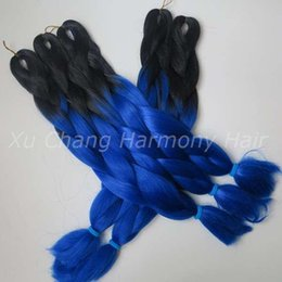 Wholesale Royal Hairs - Kanekalon Jumbo Braiding Synthetic Hair 24 inch 100g Black&Royal blue Ombre Two Tone Colored Xpression Hair Extension hot sale