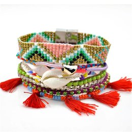 Bracelets de charme mexicain en Ligne-Nouvelles femmes coeur bohème amour mexicain perlé bracelets tressé multi couche plage charme strass bracelets à chaînes