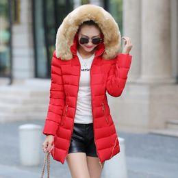 Wholesale Low Priced Women Jackets - Wholesale-lowest price New design Women Winter Coat raccoon Fur Collar Warm Coats Woman Long Outerwear Thicken Parkas Down Jacket For