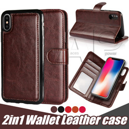 Wholesale Pocket Magnetic - Leather Magnetic Removable Case For Iphone X 10 8 7 Detachable Wallet Cover 2 in 1 For Samsung Galaxy Note8 S8 Plus