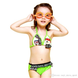 Wholesale Summer Dresses For Kids Sale - 2016 Hot Sale New Style Summer Dress String Tankini kids Swimsuit Printed Little Bear Pattern Girl Gifts Bathing Suit For Girls