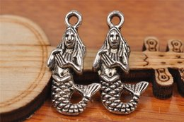 Wholesale Wholesale Bead Europe - Top Sale 100pieces 23mm Cute mermaid Charms Bead Spacer connector Pendant 7205 925 Tibet Silver DIY Jewelry Beads Europe Bracelet Necklace
