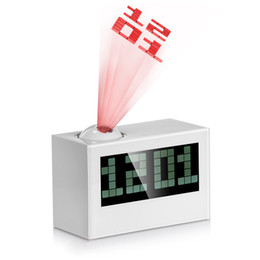 Wholesale Large Lcd Temperature - Multifunctional Digital Projection LCD Clock Excellent Rotatable larm Clock with Large Screen Date Time Temperature Display 01010