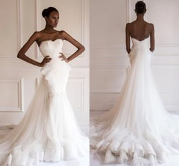 Wholesale Big Train Chapel Wedding Dress - 2016 Aso Ebi African Traditional Wedding Dresses Sweetheart Beaded Lace Appliques Big Ruffles with Long Detachable Train BO9066