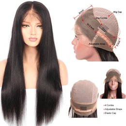 Wholesale Human Hair Glueless Wigs - Straight 360 lace frontal wigs 9A Peruvian human hair wigs Pre Plucked Natural Hairline 180% Density Peruvian virgin hair Glueless lace wigs