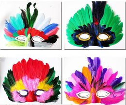 Wholesale Colorful Carnival Masks - DIY Party feather mask fashion sexy women lady Halloween MARDI GRAS carnival colorful chicken feather Venice masks gift drop shipping