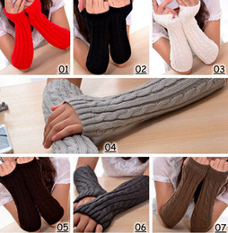 Wholesale Knitted Long Fingerless Gloves - 2016 Winter Women Warm Knitted Plaid gauntlet Long Gloves Half Finger Gloves Hand Wrist Fingerless Gloves Warm Cuff Arm Sleeves 7colors