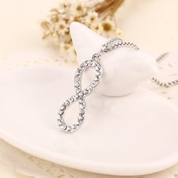 Wholesale Circle Diamond Pendant White Gold - 2016 Korean jewelry pendant alloy figure 8-shaped diamond pendant Alloy Jewelry Summer Style Gold and Silver Two Color ZJ-0903260