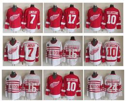 7e49d3a9336 Detroit Red Wings Hockey Jersey 7 Ted Lindsay 10 Alex Delvecchio 17 Brett  Hull 16 Konstantinov 24 Probert Vintage CCM Jerseys
