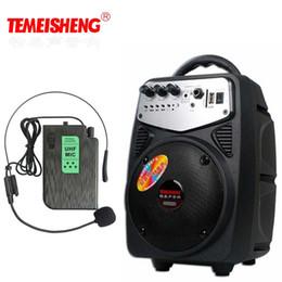 Cartão sem fio de alta potência on-line-Atacado-alto-falante de microfone sem fio portátil de alta potência de alto-falante bateria de lítio suporte USB reprodução AUX e cintura pendurado MIC