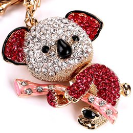 Wholesale Cute Koala Bears - Hot Koala Pink Bear Tree Charm Lovely Pendant Charm Crystal Purse Bag Keyring Key Chain Women In Jewelry Cute Gift