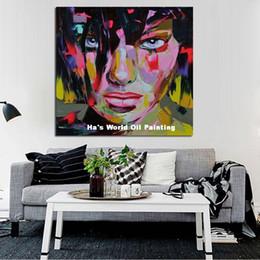 Canada Livraison Gratuite Peintures À L'huile Coloré Peint À La Main Mur Photos Lady Figure Portrait Peintures à L'huile Cool Abstrait Gens Sur Toile supplier abstract oil paintings people Offre